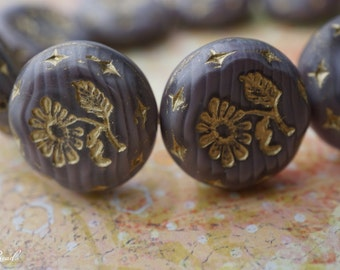 Golden Daisy, Flower Beads, Czech Beads, N2067