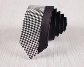 Gray Houndstooth Skinny Wool Ties with Black Patchwork, Men's Vintage Patchwork Self-Tie Neckties, Gift Boxed 2 Inch Wide Woven Ties-nt.50s