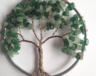 Summer Tree of Life, Green Aventurine, Gem stones, unique gift