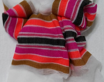 Women's 100% Handwoven Ethiopian Snow White Cotton Scarf with Multicolored Stripes