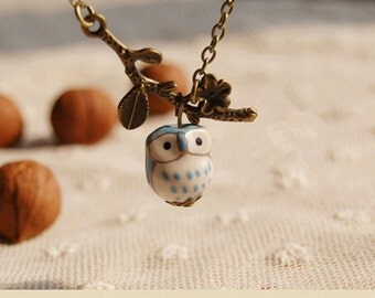 cute owl necklace,antique bronze branch necklace