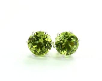 Peridot Earrings; August; Birthstone; Stud earrings; Sterling silver; Silver earrings; Green Earrings; Gemstone earrings; Gift for Her; BFF
