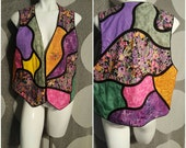 181--Fun patcwork vest-Size XLarge-Colors-Boho-Hip-Trendy-Vintage-Womens fashion-Rounded-1990s style-flower-Vacation-Summertime-Beach-