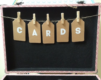 CARDS Bunting, case tags, mini, 23cm,Wedding Cards Suitcase Bunting. Wedding Card holder Bunting,  Cards bunting, shabby chic, card Box