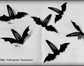 Black gothic bats set of hairclips