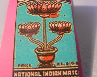 sale vintage matchbox brooch woodcut lasercut lotus flower indian asian buddhist