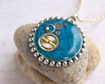 Turquoise blue steampunk necklace Blue steampunk pendant Gears necklace Steampunk gear Clockwork necklace Steampunk industrial necklace