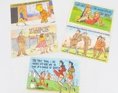 WWII Cartoon Postcards, 5 Used Linen Finish Postcards, Army Theme Humor with Girls