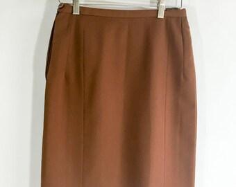 Vintage Skirt Brown Skirt Straight Pencil Skirt Wool Skirt Secretary Skirt Trevira Skirt