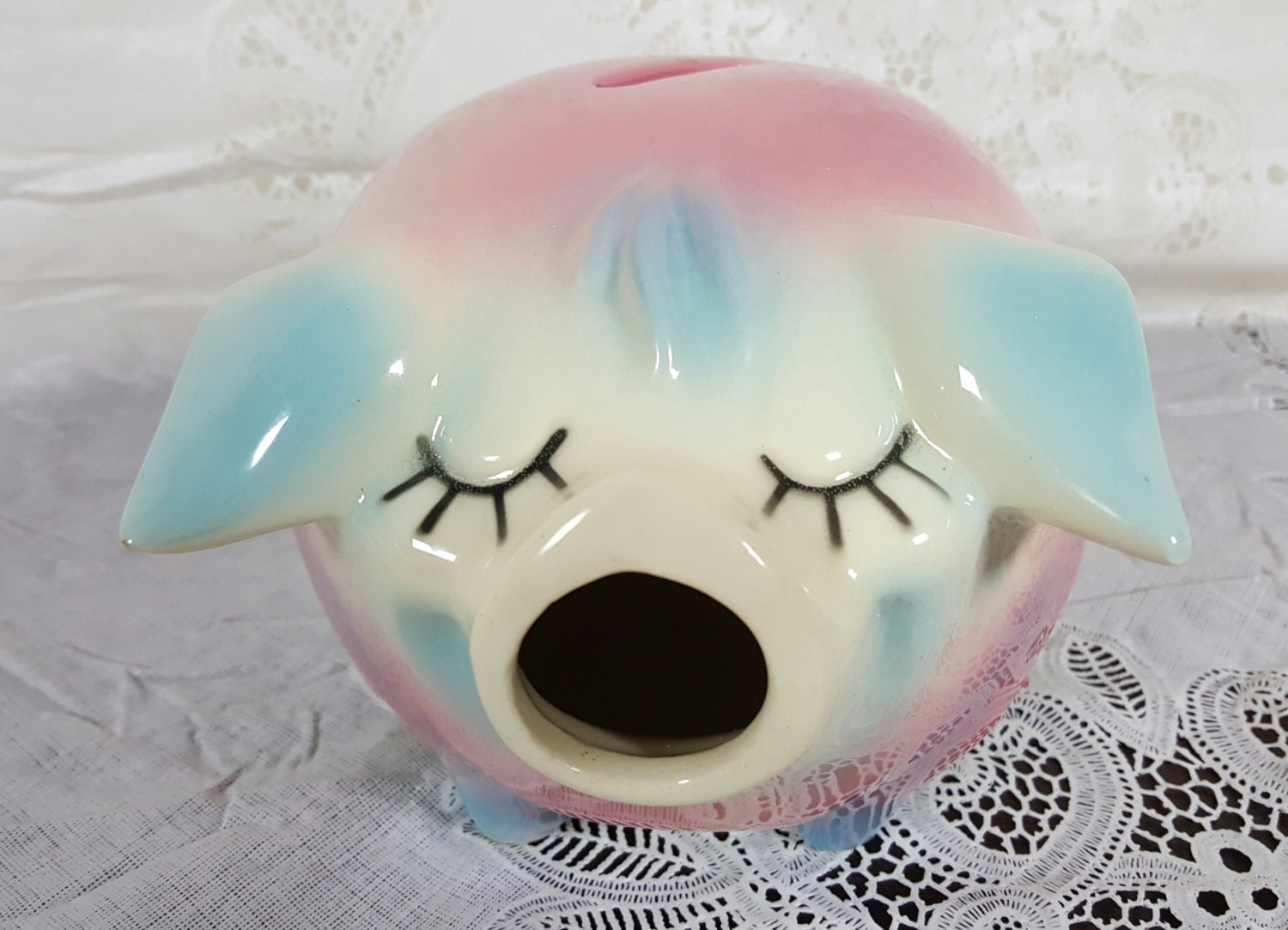 Hull Pottery 1957 Corky Pig Ceramic Piggy Bank Pink And Blue