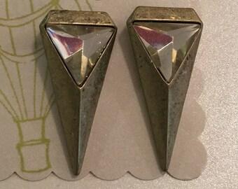 Brass and bling earrings