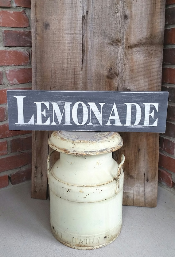 Lemonade sign lemonade wood sign kitchen sign lemonade for Rustic lemonade stand
