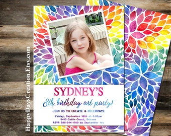 Art Party Invitation, Painting Birthday Party Invitation, Photo Printable Birthday Invitation