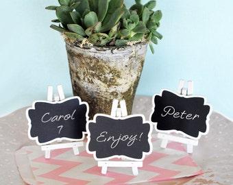 Chalkboard Place Cards- - Mini ChalkBoard Framed Chalkboard - Rustic Wedding Favor - Chalkboard Wedding Favor with Easel (EB2372) - 24 pcs