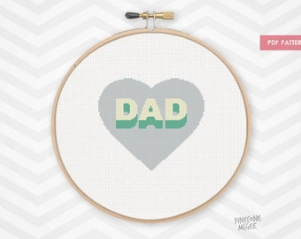 I HEART DAD counted cross stitch pattern, father's day gift pdf xstitch
