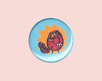 Peanut M&M Badge - candy badge, funny badge, funny button, cute food