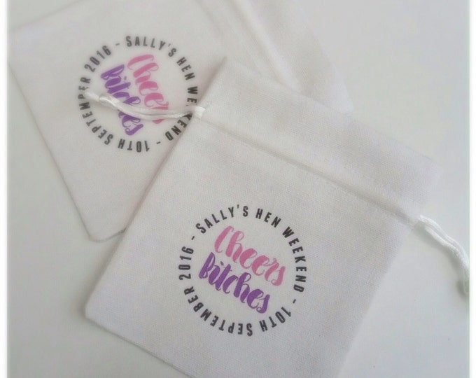 Personalised cheers bitches favour bags. Hangover Helper, survival kit hen do or Wedding pouches, any wording & colour