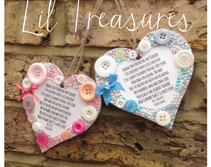 Personalised teacher quote hanging heart with pearls & crystals, Great gift for teachers, thank you gift, Teachers, embellished, wood