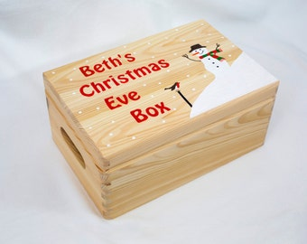 Christmas Eve Box, Personalised, Wooden, Hand-painted. Snowman Design, Large.