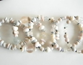 Muted Pink Gray Blue Beaded Stretchy Bracelet - Set of 5