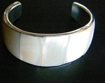 Silver Mother Of Pearl Cuff Bracelet