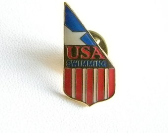 USA Swimming Enamel Red White Blue Flag Tack Pin