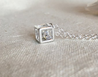 Zircon charm necklace with sterling silver chain