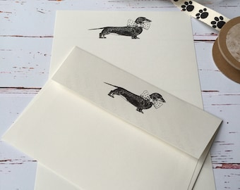 Writing Paper Boxed set with Daschund Illustration. Luxury writing paper with drawing of Daschund.