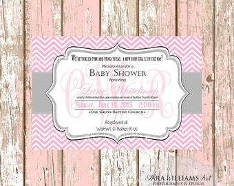 Tickled Pink Baby Shower Invitation-Pink-Gray-Chevron-Girl-Printable-Custom-You Print-Shower Invitation
