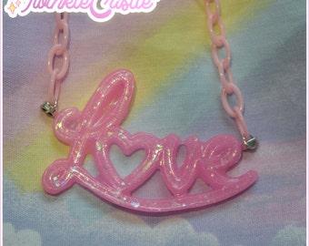 SALE!///Dreamy love charm necklace pop fairy kei sweet lolita cute kawaii pink heart