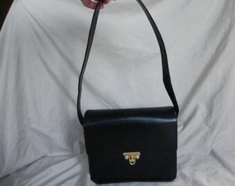Vintage Black Leather Shoulder Bag Box Purse
