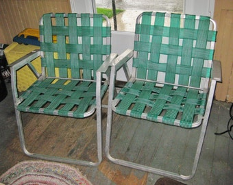 Pair of Vintage 1950'S Green Webbed Lawn Chairs with aluminum arms GOOD CONDITION