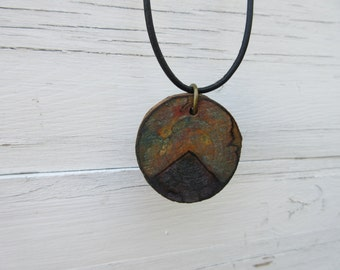 Wooden Necklace, Wooden Pendant, Mountains, Eco Jewelry, Nature Lover