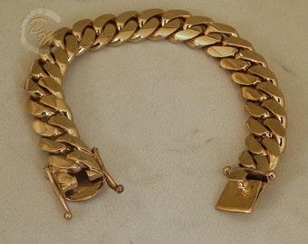 "18K Gold Miami Men's Cuban Curb Link Bracelet 8"" Heavy 93.4 Grams 11mm Free Appraisal"