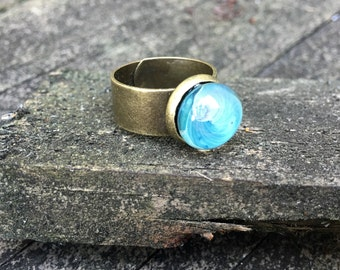 Aqua Galaxy handmade glass Ring