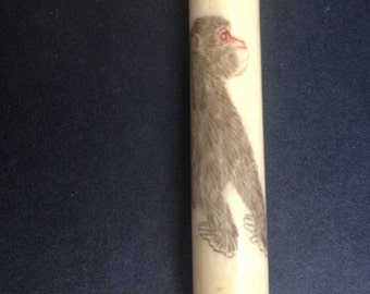 Amazing Antique Horn Needle Case with a Picture of a Baboon!