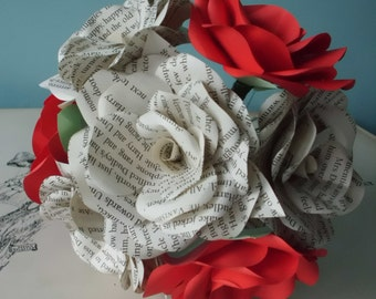 6 x Book Paper Flower Roses, Red Roses Mixed Bouquet, Handmade Paper Flowers