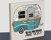 Travel Trailer Boler map wood panel print. Customize state map art. Boler trailer art print. Not all who wander are lost. Gift for camper.