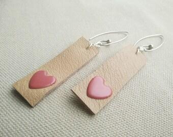 Love Heart Earrings - Leather Earrings- Love Earrings - Heart Earrings - Tan Leather Earrings - Sterling Silver Earrings - Silver Earrings