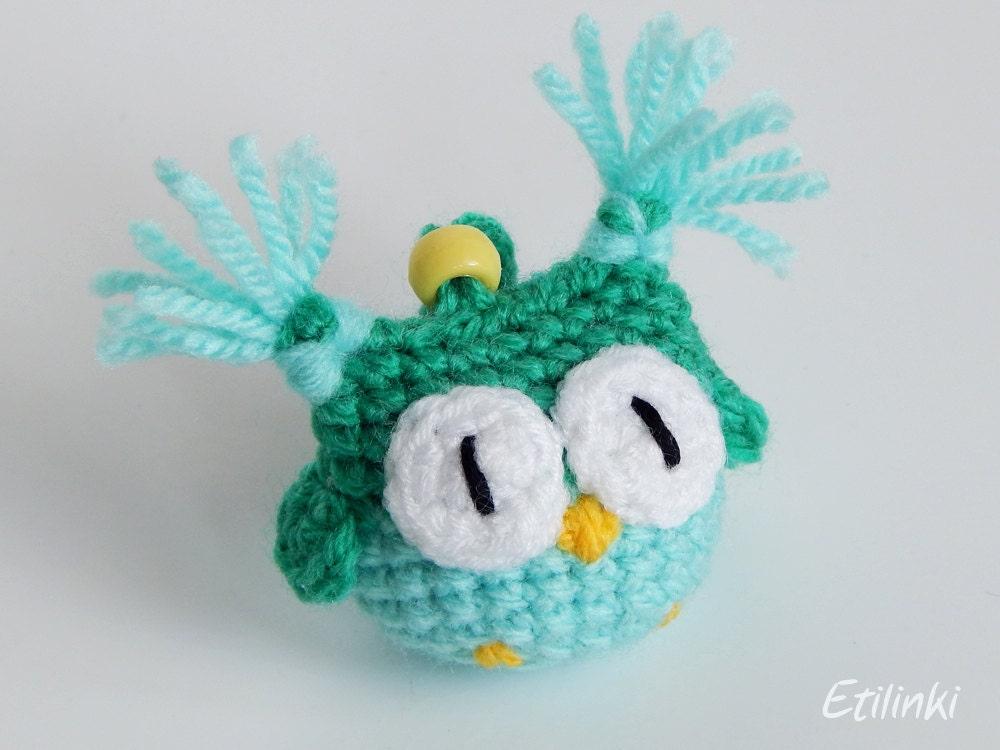 Green mint owl Crochet keychain Owl accessories by Etilinki