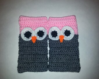 Cute Owl Fingerless Gloves