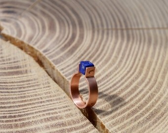 Minimalist ring for her, square blue stone Copper ring, matte recycled textured ornament, Girls thin ring, handmade jewelry Made to Order