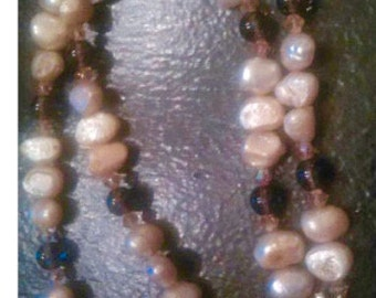 Freshwater Pearl and Smokey Quartz Necklace