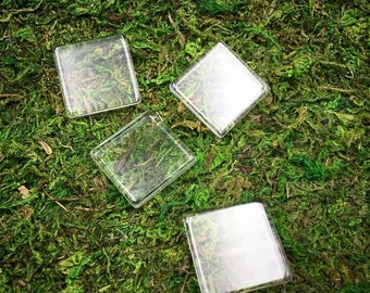 Clear Glass Squares. 12pc. 1 inch Tiles
