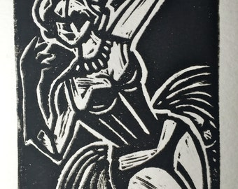Clockwork Nightingale Linocut Print