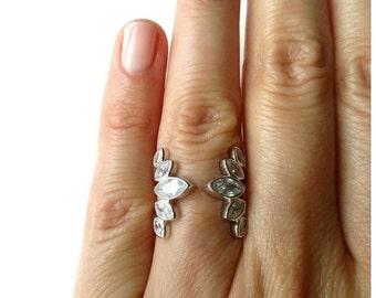 Bague argent 925/000 sertie oxydes de zirconium, bague semi ouverte argent massif 925 - 925 silver stelring ring