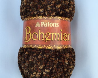 Patons Bohemian Yarn ARTISTIC TAUPES 11013 ~ 80 g ~ 2.8 oz ~ 68 yards ~ Super Bulky #6 ~ Poncho ~ Hat ~ Scarf ~ Throws ~ Chenille Yarn ~