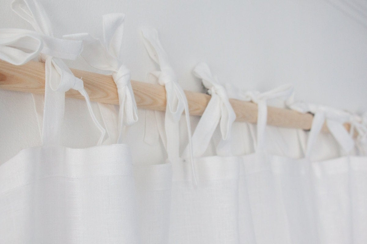 Homey White Tie Top Curtains Made Of Linen By Solinen