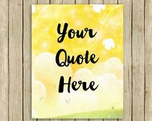 Custom quote yellow sky clouds printable nursery wall art personalised print your words name modern childrens room decor digital download