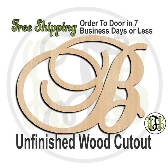 SBr Font Initials A-Z - Monogram Cutout, Initial, unfinished, wood cutout, wood craft, laser cut wood, wood cut out, DIY, Free Shipping